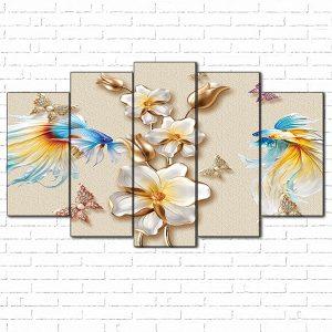 tranh kính 3d cá và hoa