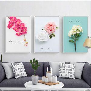 bộ 3 tranh canvas hoa lá
