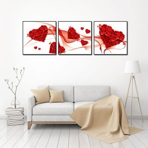 tranh kính 3d hoa hồng trái tim