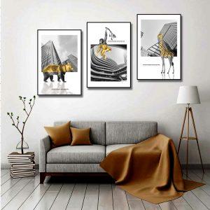 bộ 3 tranh con vật trừu tượng