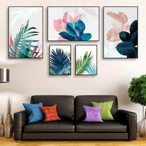 tranh bộ canvas nhiều bức sắc màu lá cây
