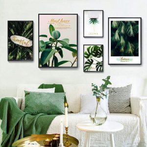 tranh lá cây xanh