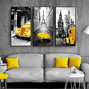 tranh xe và thành phố
