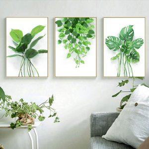 bộ 3 tranh lá cây xanh