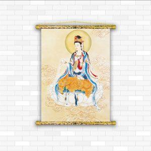 tranh canvas nẹp sáo gỗ quan thế âm bồ tát Q2109